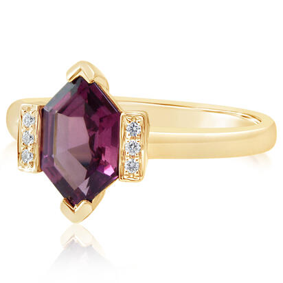 14K Yellow Gold Rhodolite Garnet/Diamond Ring | RL2FS990164CI