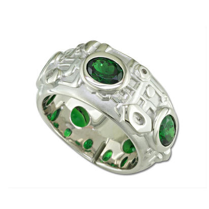 14K White Gold Tsavorite Pipe Ring | RLC022V2XW