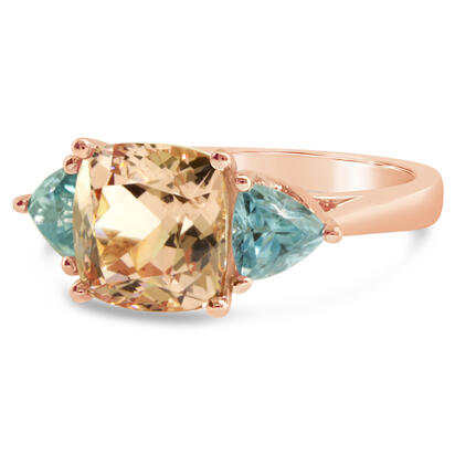 14K Rose Gold Lotus Garnet/Blue Zircon Ring | RLGCU725437R
