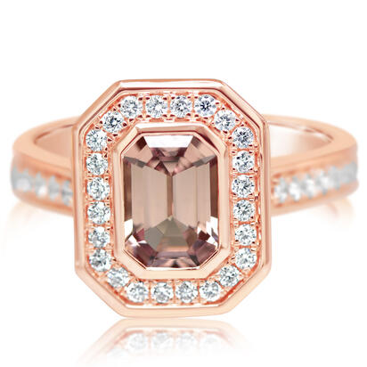 14K Rose Gold Lotus Garnet/Diamond Ring | RLGOC875153RI