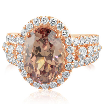 14K Rose Gold Lotus Garnet/Diamond Ring | RLGOV700729RI