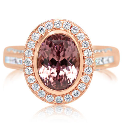 14K Rose Gold Lotus Garnet/Diamond Ring | RLGOV800433RI