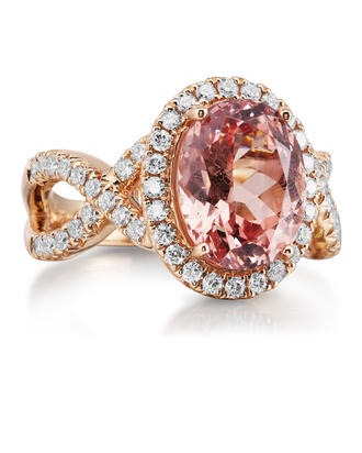 14K Rose Gold Lotus Garnet/Diamond Ring | RLGOV800500RI