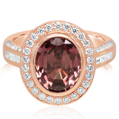14K Rose Gold Lotus Garnet/Diamond Ring | RLGOV850546RI
