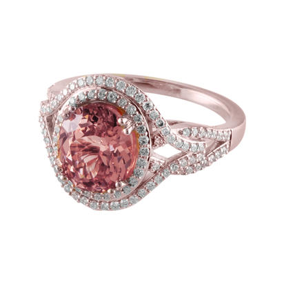 14K Rose Gold Lotus Garnet/Diamond Ring | RLGOV900351RI