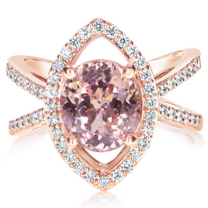 14K Rose Gold Lotus Garnet/Diamond Ring | RLGOV900359RI