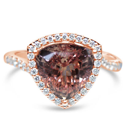 14K Rose Gold Lotus Garnet/Diamond Ring | RLGTR750534RI