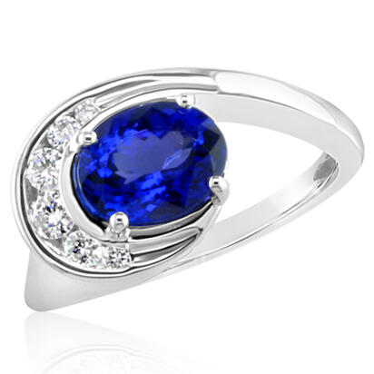 18K White Gold Tanzanite/Diamond Ring | RLX021J0AQI