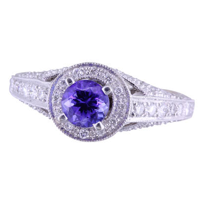 18K White Gold Tanzanite/Diamond Ring | RM048-50J1QI