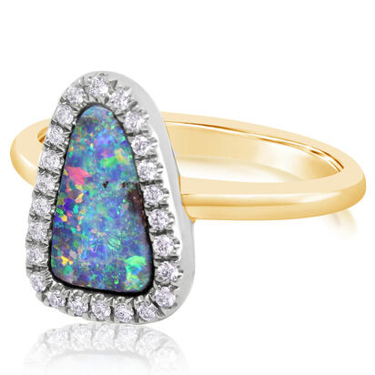 14K Yellow Gold/Ss Australian Boulder Opal/Diamond Ring with Blackened Silver Diamond Halo