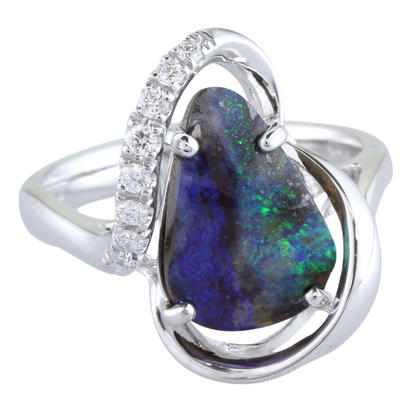14K White Gold Australian Boulder Opal/Diamond Ring | RMBO1B312WI