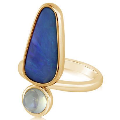 14K Yellow Gold Australian Boulder Opal/Moonstone Ring | RMBO1C440C