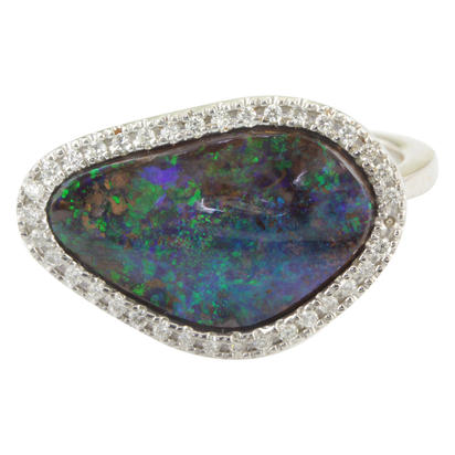 14K White Gold Australian Boulder Opal/Diamond Ring