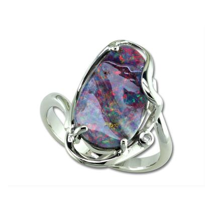 14K White Gold Australian Boulder Opal/Diamond Ring | RMBO2A700W