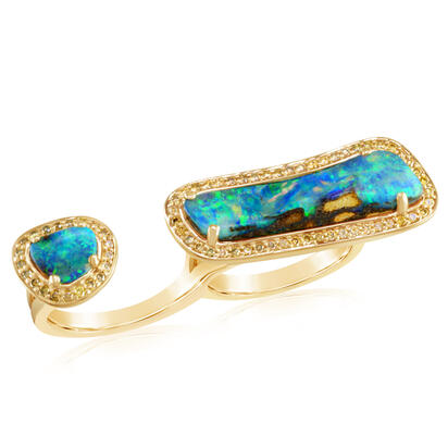 14K Yellow Gold Australian Boulder Opal/Diamond Ring | RMBO3A580CI