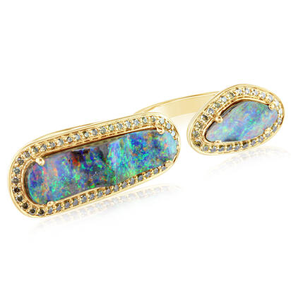 18K Yellow Gold Australian Boulder Opal/Diamond Ring | RMBO4A1B1184EI