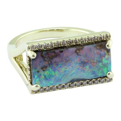 18K Yellow Gold Australian Boulder Opal/Diamond Ring | RMBO4A497EI