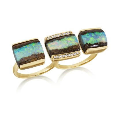 18K Yellow Gold Australian Boulder Opal/Diamond Two Finger Ring
