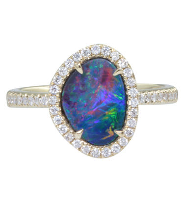 14K Yellow Gold Australian Opal/Diamond Ring | RMDBT2A146-3CI