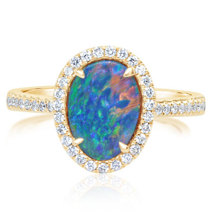 14K Yellow Gold Australian Opal/Diamond Ring | RMDBT2A146CI