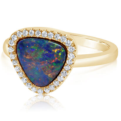 14K Yellow Gold Australian Opal Doublet/Diamond Ring , N' | RMDBT2A187CI