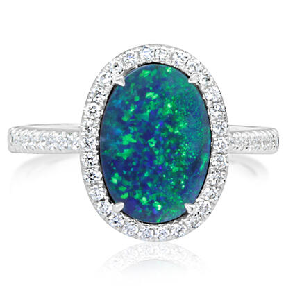 14K White Gold Australian Opal/Diamond Ring | RMDBT2A194-2WI