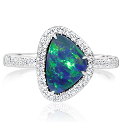 14K White Gold Australian Opal/Diamond Ring | RMDBT2A194-3WI