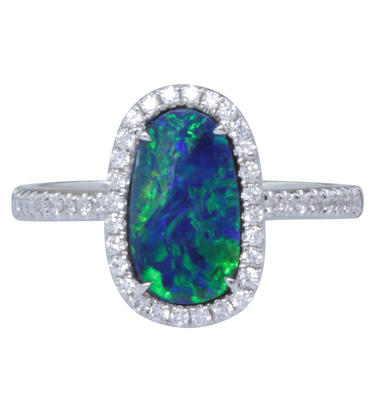 14K White Gold Australian Opal/Diamond Ring