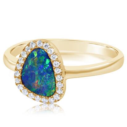 14K Yellow Gold Australian Opal Doublet/Diamond Ring , N' | RMDBT3A088CI
