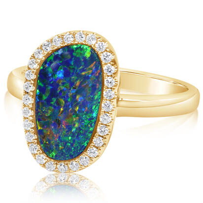 14K Yellow Gold Australian Opal Doublet/Diamond Ring , N' | RMDBT3A217CI