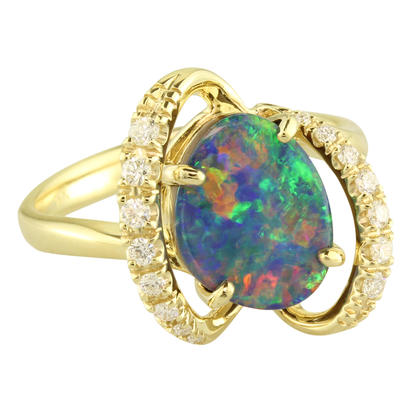 14K Yellow Gold Australian Opal Doublet/Diamond Ring | RMDBT3A231-2CI