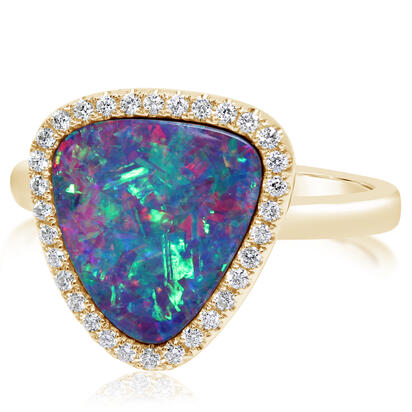 14K Yellow Gold Australian Opal Doublet/Diamond Ring , N' | RMDBT3A317CI