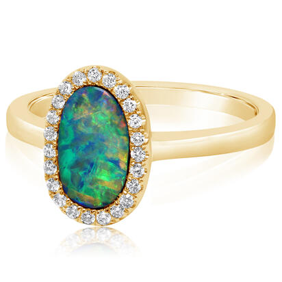 14K Yellow Gold Australian Opal Doublet/Diamond Ring , N' | RMDBT4A073CI