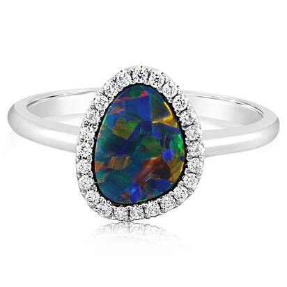 14K White Gold Australian Opal/Diamond Ring | RMDBT4A102WI