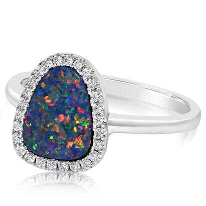 14K White Gold Australian Opal/Diamond Ring | RMDBT4A147WI