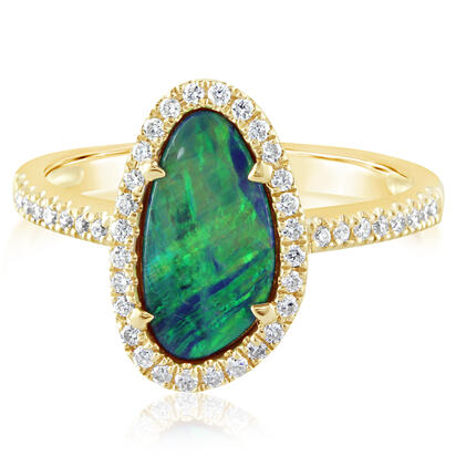 14K Yellow Gold Australian Opal Doublet/Diamond Ring | RMDBT4A174-2CI