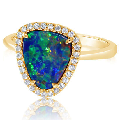 14K Yellow Gold Australian Opal Doublet/Diamond Ring | RMDBT4A182CI