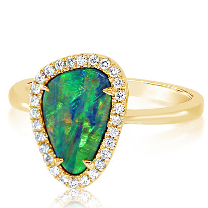 14K Yellow Gold Australian Opal Doublet/Diamond Ring | RMDBT4A188CI