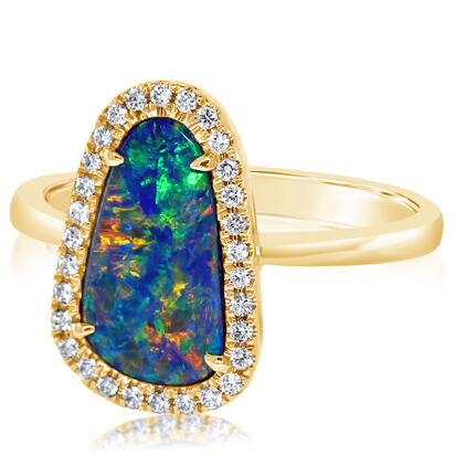 14K Yellow Gold Australian Opal Doublet/Diamond Ring | RMDBT4A215CI