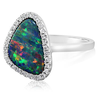 14K White Gold Australian Opal/Diamond Ring | RMDBT4A254WI