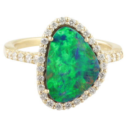 14K Yellow Gold Australian Opal Doublet/Diamond Ring | RMDBT4A265C