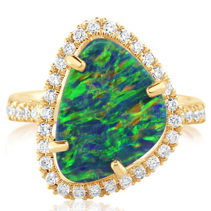 14K Yellow Gold Australian Opal Doublet/Diamond Ring | RMDBT4A418CI
