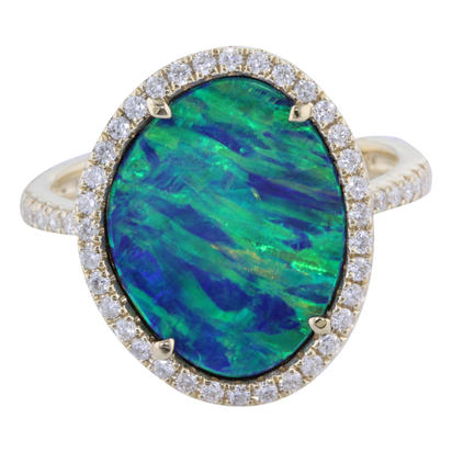 14K Yellow Gold Australian Opal Doublet/Diamond Ring | RMDBT5A378CI