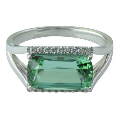 14K White Gold Mint Tourmaline/Diamond Ring | RMHCU875338W