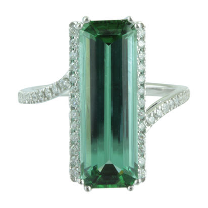 14K White Gold Mint Tourmaline/Diamond Ring | RMHOC790541W
