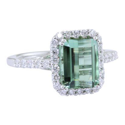 18K White Gold Mint Tourmaline/Diamond Ring