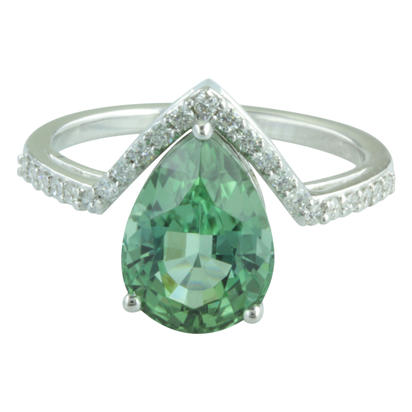 14K White Gold Mint Tourmaline/Diamond Ring | RMHPR875344W
