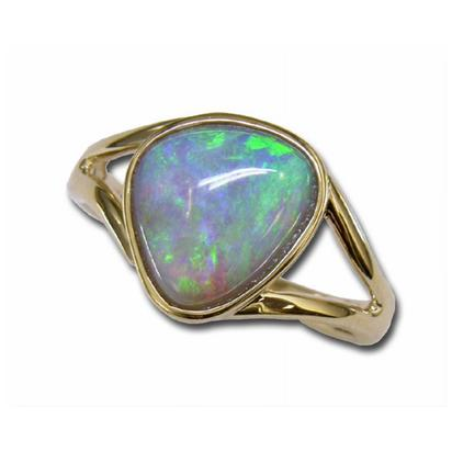 14K Yellow Gold Natural Opal Small Stone Ring | RN002-10I