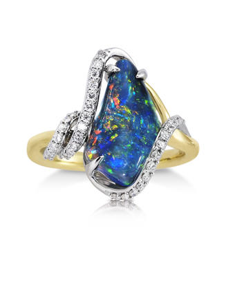 18K Yellow and White Gold Australian Black Opal/Diamond Ring | RNBFF326267BI