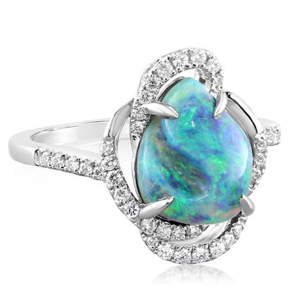 18K White Gold Australian Black Opal/Diamond Ring | RNBFF539282QI